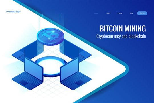 Isometric bitcoin mining concept. Cryptocurrency and Blockchain concept. Farm for mining bitcoins. Digital money market, investment, finance and trading. Vector illustration