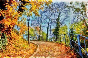 Hand drawing watercolor art on canvas. Artistic big print. Original modern painting. Acrylic dry brush background.  Charming view of the riddles of nature. Beautiful autumn landscape.