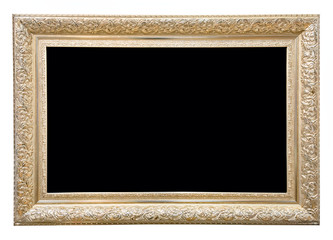 Antique rectangular golden frame isolated on white background