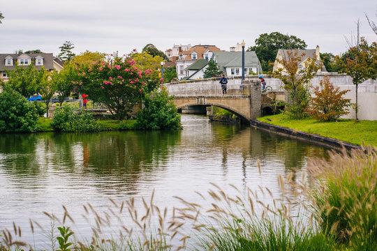 Bridge and island in Sunset Lake, Asbury Park, New Jersey.