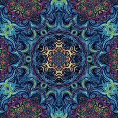 Creative bright mandala. Kaleidoscope abstract wallpaper. Sacred geometry digital painting art. Ethnic fractal artwork. Symmetric stylish graphic design pattern. Print for fabric, textile or paper.