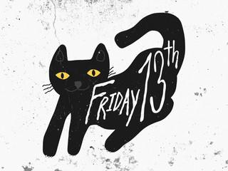 Wall Mural - Friday 13th black cat cartoon painting on dark white grunge background illustration
