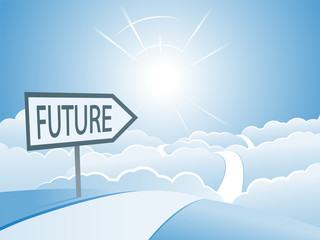 Bright Future Sign and Road Concept