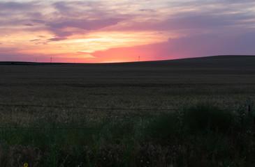 Brilliant Orange, Peach and Purple Sunset over Lush Pasture