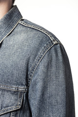 man wearing denim jacket isolated white