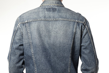 man wearing denim jacket isolated white Wall mural