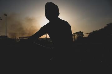 retrato en puesta de sol