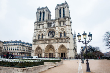 Cathedral of Our Lady of Paris in a freezing winter day just before spring