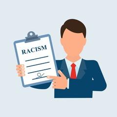 Чиновник держит в руке документ с надписью расизм.
