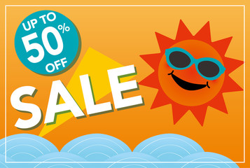 Super sale illustration with smiling sun