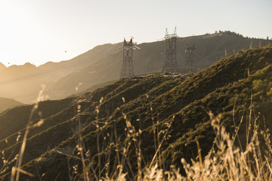 California Mountain Power Lines At Sunset