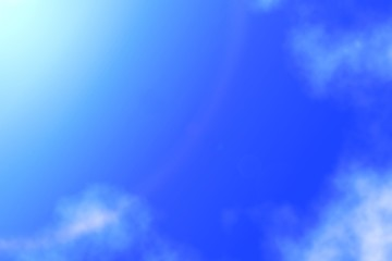 Sun shines on blue sky amid cloud ,abstract background