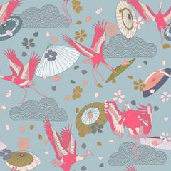 Japanese pattern. Seamless vector ornament with traditional motives. Japanese pattern with storks and sakura. Japanese umbrellas