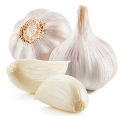 Acrylic Prints Aromatische Garlic Isolated on white