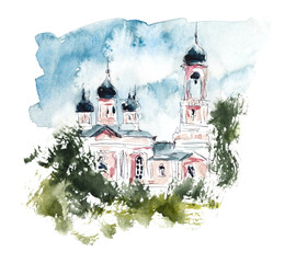 Cathedral. Russia. Hand drawing illustration. Gel pen and watercolor