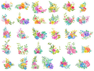 Watercolor beautiful floral design. Bright floral compositions over white