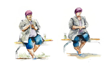The stout woman sits on a bench. Waits. Watercolor hand drawn illustration. Sketch