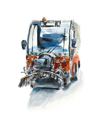 Street cleaner machine. Watercolor hand drawn sketch. Illustration