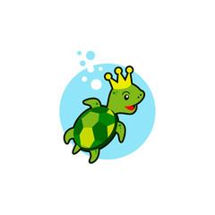 Cartoon Turtle Mascot Logo Template