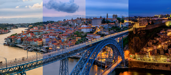 Panoramic timeslice view of cityscape of Porto, Portugal over Dom Luis I Bridge and Douro River at sunset