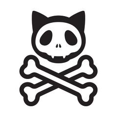 cat skull crossbones vector icon logo pirate Halloween kitten cartoon illustration symbol