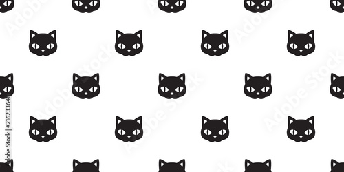 Cat Seamless Pattern Vector Halloween Black Kitten Face Calico Scarf Isolated Tile Background Repeat Wallpaper
