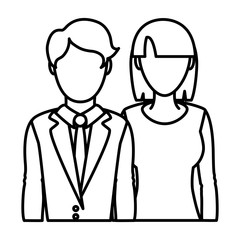 line professional woman and man partner with clothes