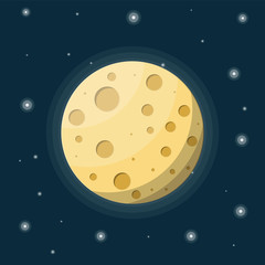 Fullmoon in night sky with stars. Moon satellite of earth with craters. Astronomy, science, nature. Space exploration. Vector illustration in flat style