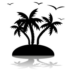 Silhouette of three palm trees on an island and around a seagull flying, on white background,