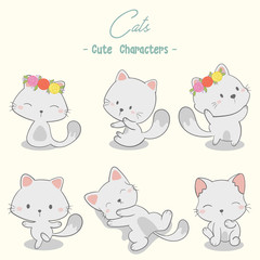set of cute cat characters vector