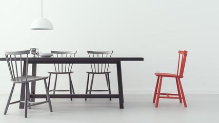 modern dining room & white background/ 3d render image