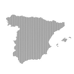 Spain map country abstract silhouette of wavy black repeating lines. Contour of sinusoid curve. Vector illustration.
