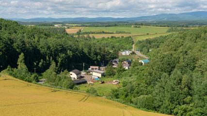 Panoramic view of Biei , Hokkaido, Japan