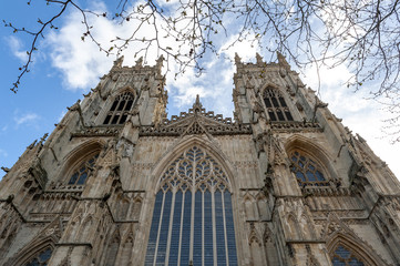 Elaborate tracery on exterior building of York Minster, the historic cathedral built in English gothic architectural style located in City of York, England, UK