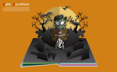 Zombie with dog on halloween night. Halloween pop up book from vector.