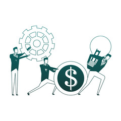 Businessman holding bulb lights and gears vector illustration graphic design