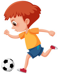 Ginger child kicking a soccer ball