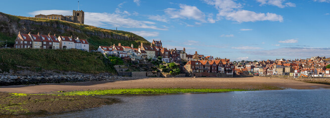 Panoramic image of Whitby across tate hill sands, North Yorkshire, England.