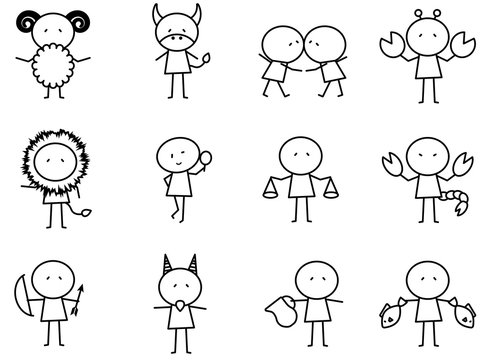Set of Cartoon simple line charactor in Zodiac icon concept for vector graphic design