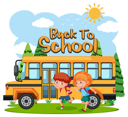 Students going to school by bus