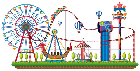 Theme park rides on white background