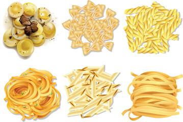 A set of Italian pasta