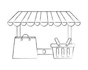 mobile online store shopping basket and bag