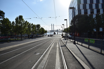 Street with tramway  in the morning no people Melbourne, Australia 2016