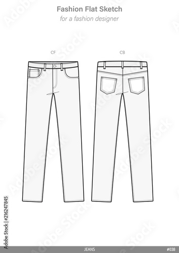 PANTS JEANS FASHION FLAT SKETCHES technical drawings teck pack ...