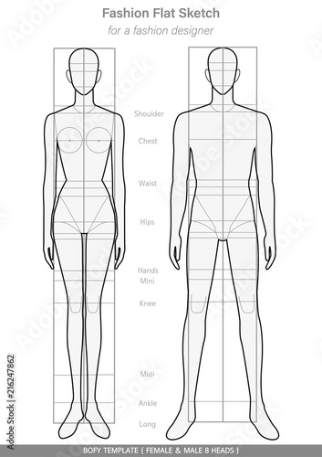 Body template Fashion FLAT SKETCHES technical drawings FEMALE & MALE ...