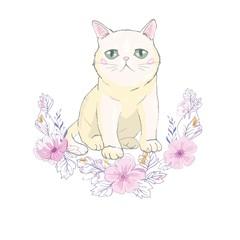 Cute cat vector design.Children illustration for School books and more.Meow slogan. Animal print.