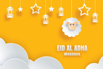 Eid Al Adha Mubarak celebration card with sheep in paper art yellow background. Use for banner, poster, flyer, brochure sale template.