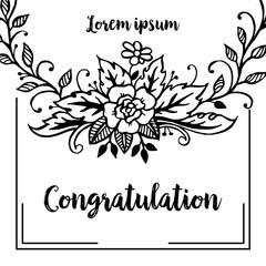 Vintage floral design congratulation collection vector illustration