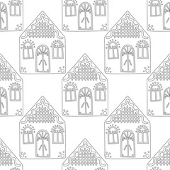 Gingerbread. Black and white illustration for coloring book or page. Christmas, holiday background.